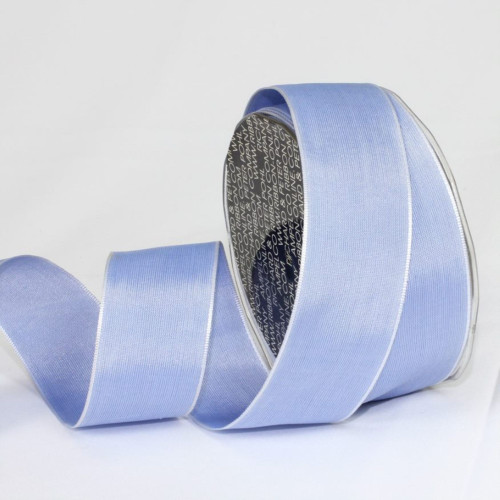 "Blue and Silver Solid Wired Craft Ribbon 1.5"" x 27 Yards - IMAGE 1"