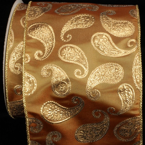 """Amber Yellow and Gold Paisley Wired Craft Ribbon 6"""" x 20 Yards - IMAGE 1"""