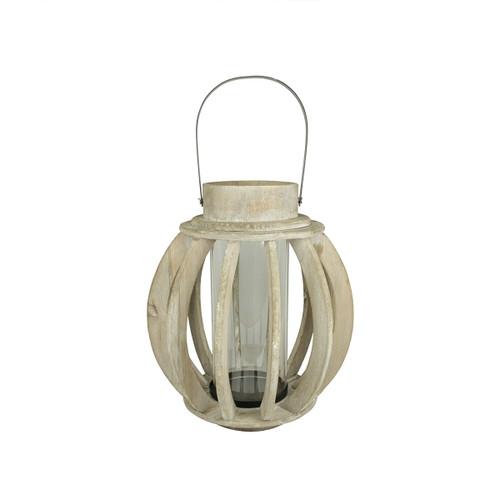 "14.75"" Seaside Treasures Rustic Chic Drift Wood Sphere and Glass Hurricane Pillar Candle Lantern - IMAGE 1"