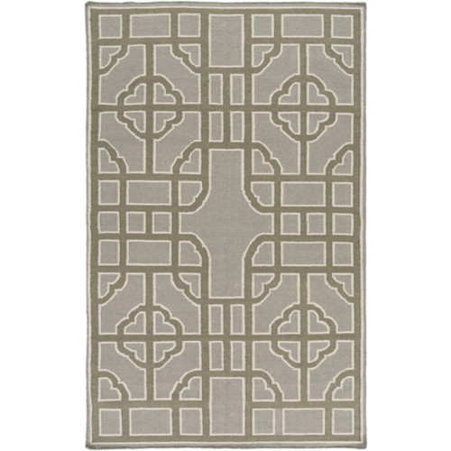 2' x 3' Bohemian Gates Charcoal Gray and Brown Geometric Hand Woven Rectangular Wool Area Throw Rug - IMAGE 1