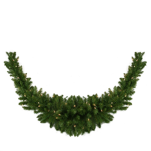 "60"" Pre-Lit Eastern Pine Artificial Christmas Swag - Clear Lights - IMAGE 1"