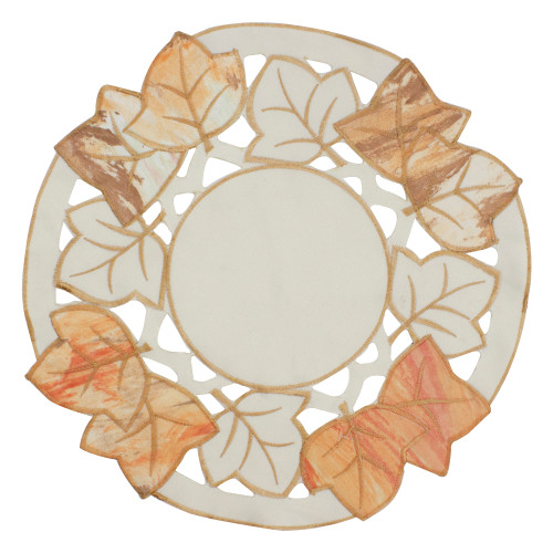 "12"" White and Beige Embroidered Fall Leaf Thanksgiving Doily - IMAGE 1"