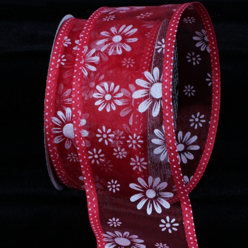 """Shimmering Red Flower Wired Craft Ribbon 2.5"""" x 40 Yards - IMAGE 1"""