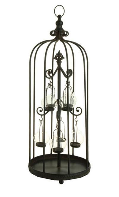 """31"""" Bistro Kitchen Rustic Black Birdcage Glass Tea Light Candle Holder - IMAGE 1"""