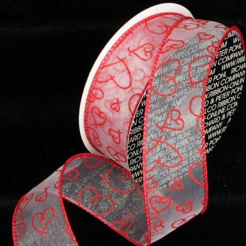 """Red and White Flocked Heart Wired Craft Ribbon 4"""" x 40 Yards - IMAGE 1"""