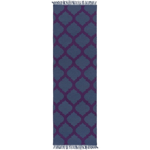 2.5' x 8' Imperial Blue and Royal Purple Hand Woven Area Throw Rug Runner - IMAGE 1