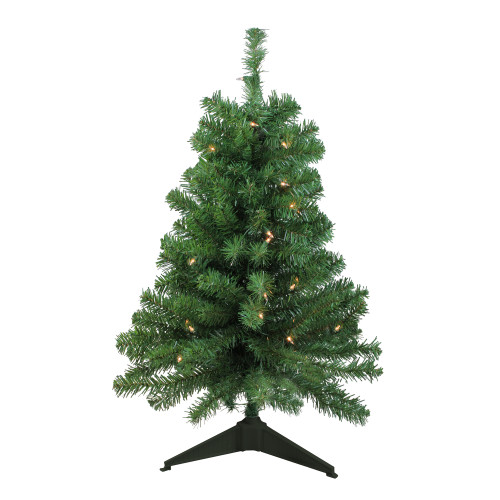 3' Pre-Lit Green Medium Traditional Noble Fir Artificial Christmas Tree - Clear Lights - IMAGE 1