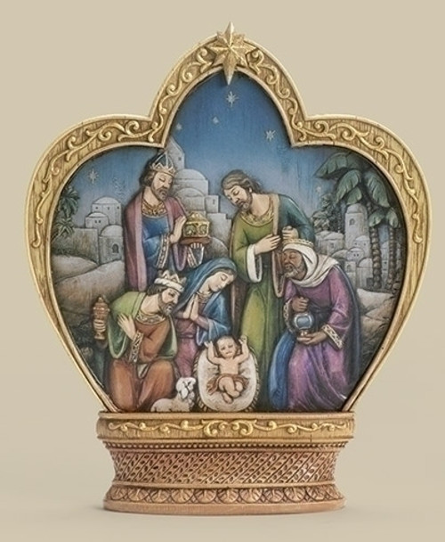 "10.5"" Blue and Gold Crown with Religious Nativity Scene Tabletop Decor - IMAGE 1"