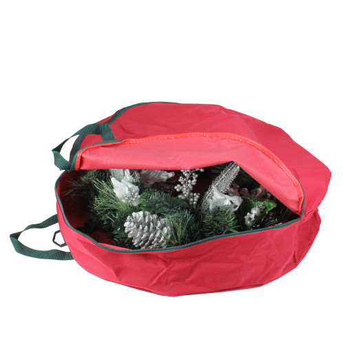 """24"""" Red Spiral Tree Christmas Wreath Protective Storage Bag with Handles - IMAGE 1"""
