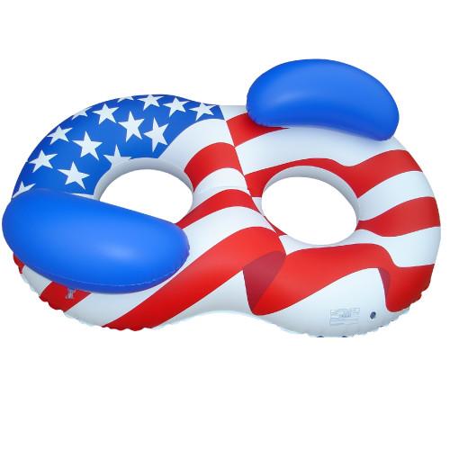 """65"""" Inflatable Patriotic American Flag Duo Circular Swimming Pool Lounger - IMAGE 1"""