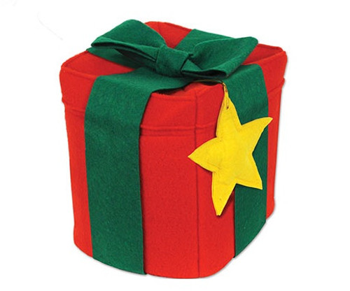 Pack of 6 Red and Green Square Christmas Gift Box Hat Costume Accessories - One Size - IMAGE 1