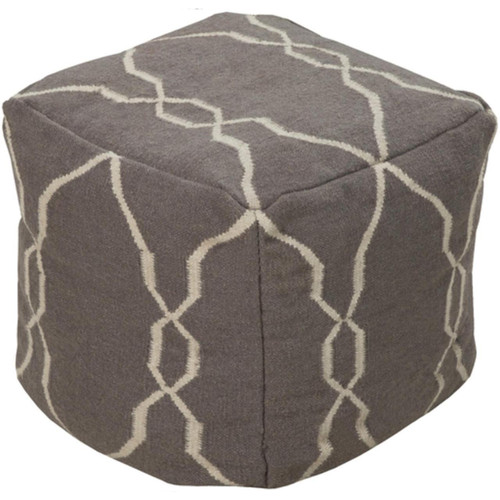 """18"""" Charcoal Gray and Ivory Static Circles Square Wool Pouf Ottoman - IMAGE 1"""
