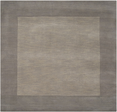 8' x 8' Solid Gray Hand Loomed Square Wool Area Throw Rug - IMAGE 1