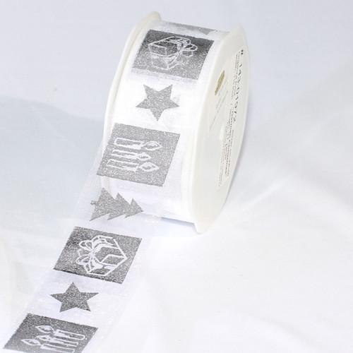 "White and Silver Colored German Christmas Print Organza Craft Ribbon 1.5"" x 54 Yards - IMAGE 1"