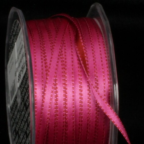 "Fuchsia Pink and Brown Double Sided Craft Ribbon with Stitch Edge 0.25"" x 220 Yards - IMAGE 1"