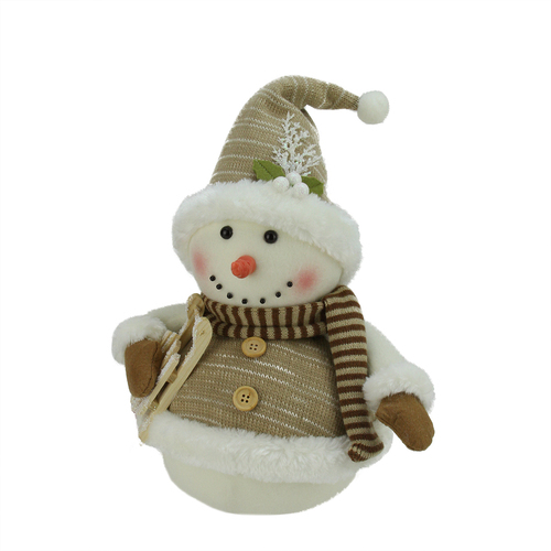 """16"""" Brown and White Snowman with Sled Christmas Figurine - IMAGE 1"""