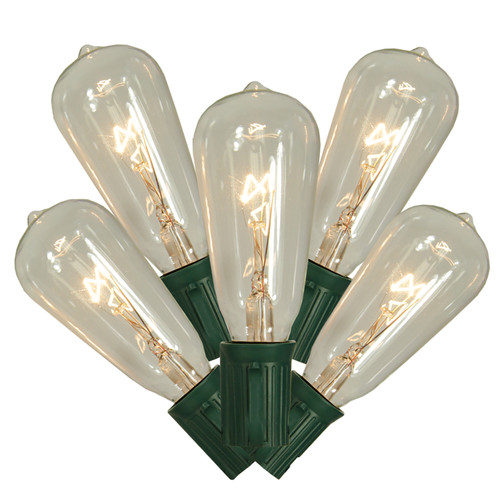 10-Count Clear Edison Christmas Light Set, 9ft Green Wire - IMAGE 1