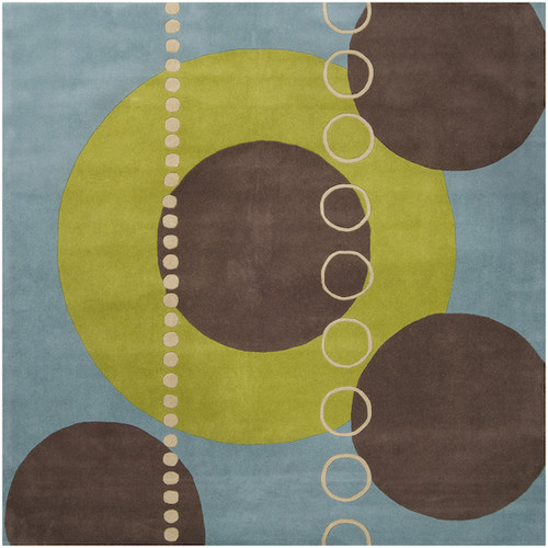 9.75' x 9.75' Green and Brown Geometric Square Area Throw Rug - IMAGE 1