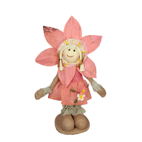 """14.5"""" Peach and Tan Spring Floral Standing Sunflower Girl Decorative Figure - IMAGE 1"""