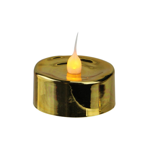 Set of 3 Gold LED Lighted Flickering Flame Tea Light Candles - IMAGE 1