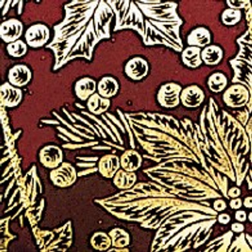 """Wine Red and Gold Poinsettia Wired Craft Ribbon 2"""" x 40 Yards - IMAGE 1"""