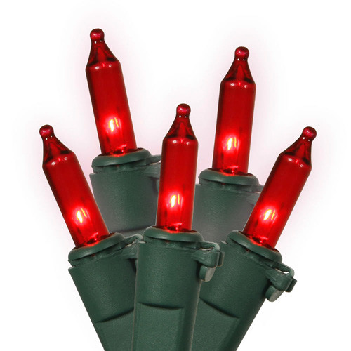 50 Red Mini Christmas Lights - 16.8 ft Green Wire - IMAGE 1