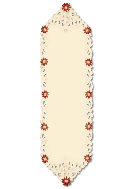 "15"" x 52"" Beige Embroidered Floral Christmas Table Runner - IMAGE 1"