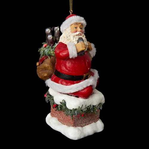 """4.5"""" Red and White Santa Claus Coming Out of Chimney Christmas Ornament - IMAGE 1"""