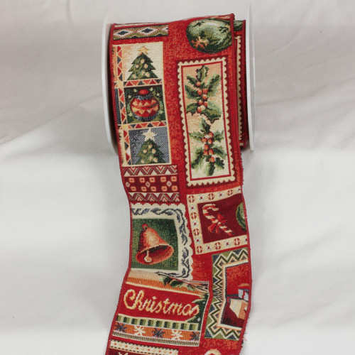 """Red and Green Christmas Holiday Print Wired Craft Ribbon 5"""" x 9 Yards - IMAGE 1"""