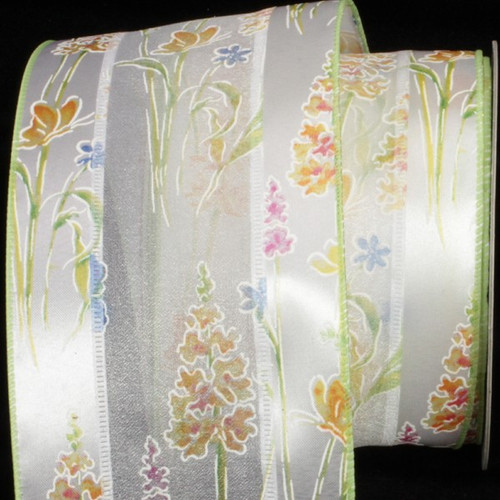 """Green and White Embossed Flowers Wired Craft Ribbon 4"""" x 20 Yards - IMAGE 1"""