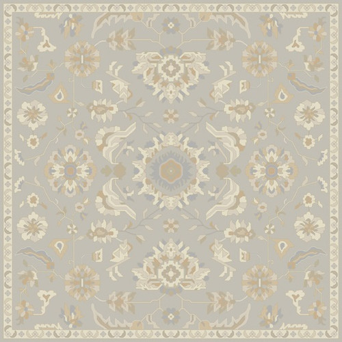8' x 8' Floral Gray and Tan Brown Hand Tufted Square Wool Area Throw Rug - IMAGE 1