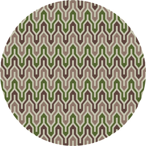 8' Ivory and Green Hand Woven Round Wool Area Throw Rug - IMAGE 1