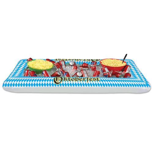"""Pack of 6 Blue and White Inflatable Harlequin 'Oktoberfest' Buffet Coolers 53.75"""" - IMAGE 1"""
