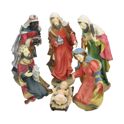 "6pc Red and Green Holy Family Religious Christmas Nativity Statues 19"" - IMAGE 1"