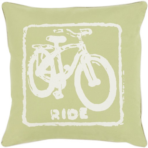 """22"""" Lime Green and Beige Relaxing Ride Throw Pillow - Down Filler - IMAGE 1"""