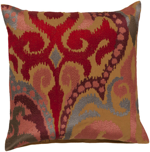 "22"" Red and Brown Embroidered Square Throw Pillow - IMAGE 1"