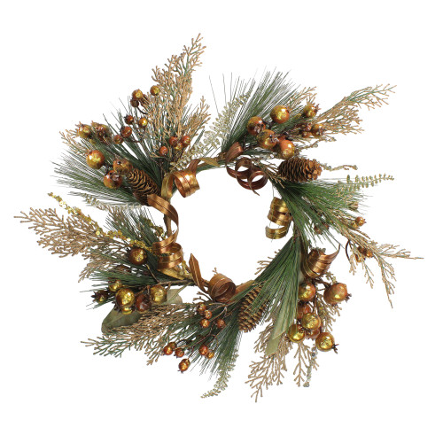 """16"""" Brown Ribbon/Berry/Pine Cone Artificial Christmas Pillar Candle Ring - IMAGE 1"""