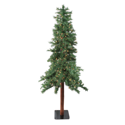 8' Pre-Lit Slim Traditional Woodland Alpine Artificial Christmas Tree - Clear Lights - IMAGE 1