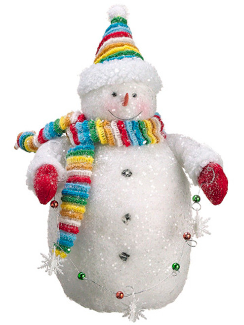 """15"""" White and Red Chubby Snowman with Ornaments Strand Christmas Tabletop Figurine - IMAGE 1"""