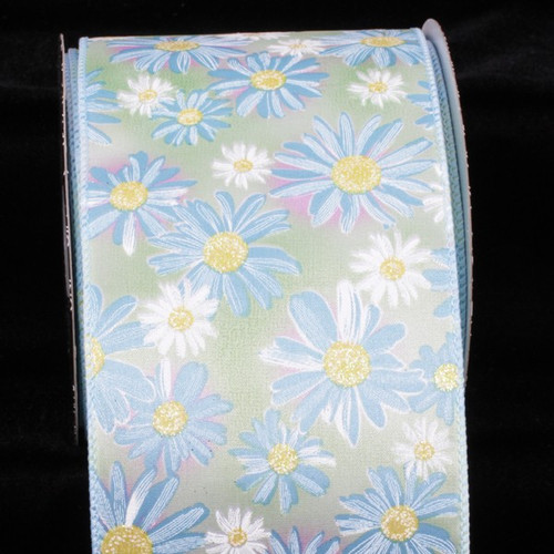 """Green and Blue Floral Wired Craft Ribbon 4"""" x 20 Yards - IMAGE 1"""