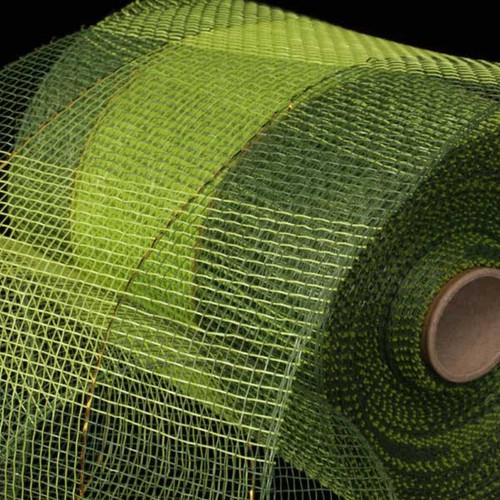 "Green and Khaki Brown Checkered Pattern Decorating Mesh Craft Ribbon 6.5"" x 80 Yards - IMAGE 1"