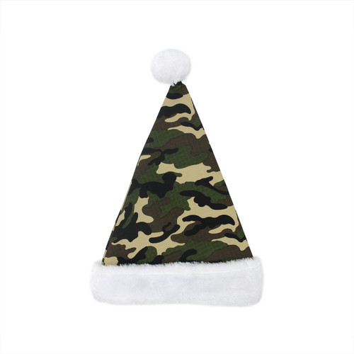 Green and White Camouflage Unisex Adult Christmas Santa Hat Costume Accessory - One Size - IMAGE 1