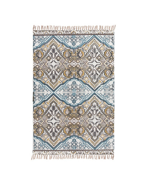 4' x 6' Contemporary Blue and Ivory Hand Woven Rectangular Area Throw Rug - IMAGE 1