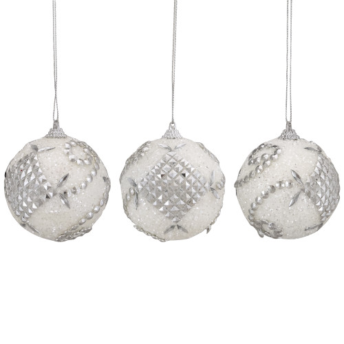 """3ct White and Silver Beaded Swirl Shatterproof Christmas Ball Ornaments 3"""" (75mm) - IMAGE 1"""