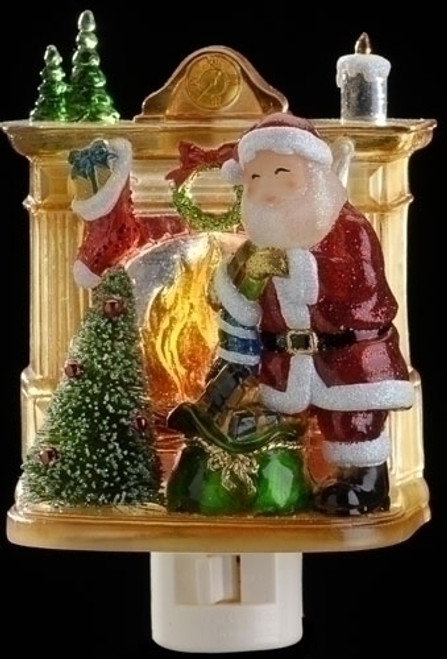 "5"" Red and Gold Santa with Presents Christmas Night Light - IMAGE 1"