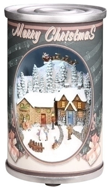 "6.75"" Gray and White Retro Musical Santa Claus in Can Christmas Decor - IMAGE 1"