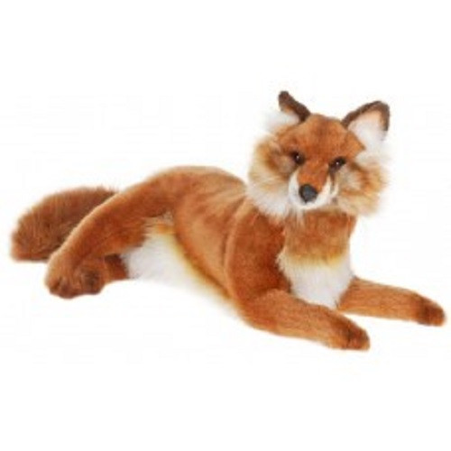"""Set of 2 Brown Handcrafted Soft Plush Laying Fox Stuffed Animals 17.5"""" - IMAGE 1"""