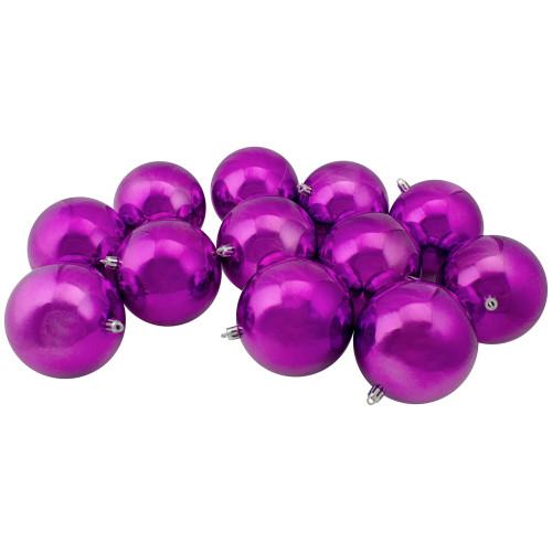 "12ct Purple Shatterproof Shiny Christmas Ball Ornaments 4"" (100mm) - IMAGE 1"