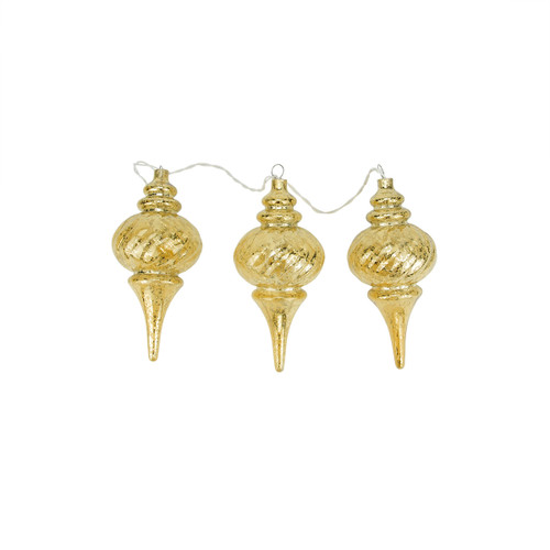 """3ct Prelit Gold Mercury Glass Finish Finial Christmas Ornaments - Clear Lights 9.75"""" - IMAGE 1"""