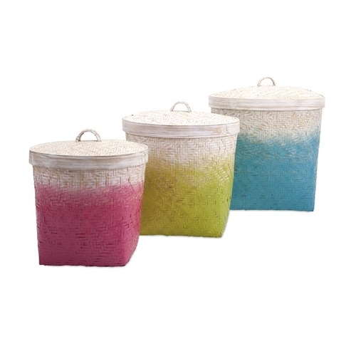 "Set of 3 Bright Colorful Pink Green and Blue Ombre Lidded Woven Bamboo and Rattan Baskets 18.5"" - IMAGE 1"